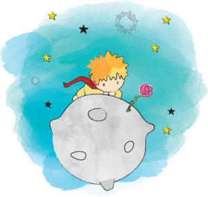 Le petit prince et la rose sur une planète
