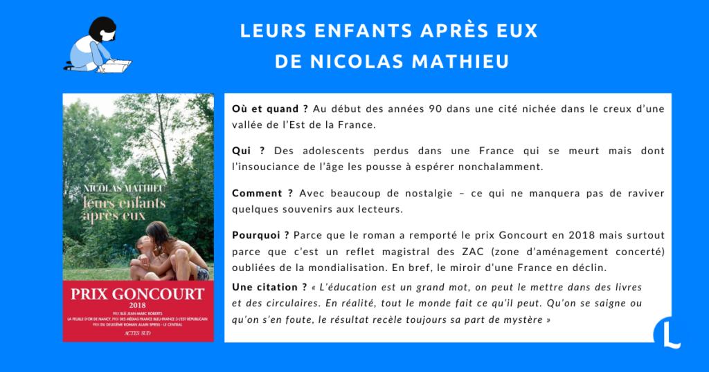 Leurs enfants après eux de Nicolas Mathieu : prix Goncourt 2018