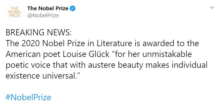 Prix Nobel : annonce prix Nobel de littérature 2020