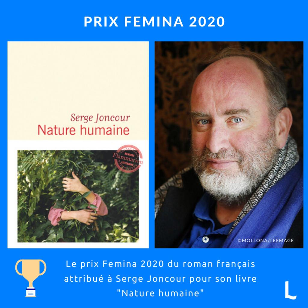 Serge Goncourt remporte le prix Femina 2020 avec Nature humaine
