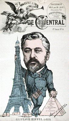 Caricature de l'ingénieur français Gustave Eiffel à côté de la tour Eiffel, à Paris, France